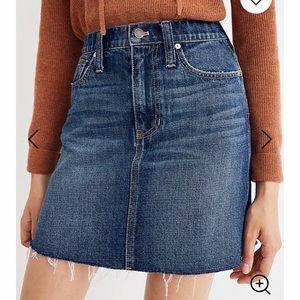 Straight denim mini skirt with raw hem